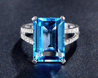 Engagement Ring -  11 Carat Blue Topaz Ring With Diamonds In 14K White Gold