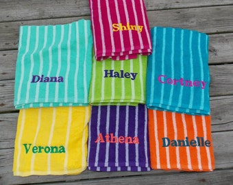 Personalized Beach Towel, Personalized Birthday Gift, Monogrammed Birthday Gift Graduation Gift, Pool Party Favor, Birthday Party Favor