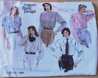 Vogue Sewing Pattern1398/Tuxedo Blouse
