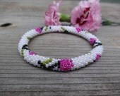 Hot Pink and Ivory White Beaded Flower Bracelet, Czech Seed Beads, Crocheted in Nepal, PB97