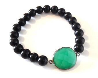 Black and Gunmetal Emerald Bracelet