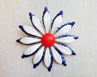 vintage red white and blue flower brooch
