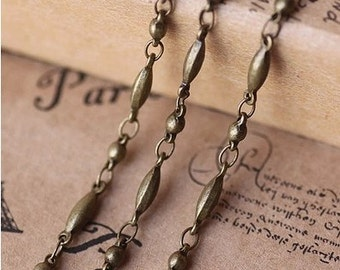 2 meter raw Brass  plating antique bronze   handmade chain