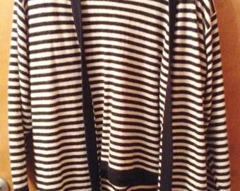 2 piece wool sweater set, B/W stripes
