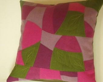 Decorative throw pillow cover washed linen modern patchwork quilting cushion case 16 x 16