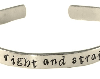 Peter Pan Inspired - Second Star to the Right and Straight on 'Til Morning - Hand Stamped Aluminum Bracelet