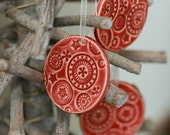 SALE Red Ceramic Christmas Ornaments Lace Ceramic  Winter Home Decoration Gift Set of 3