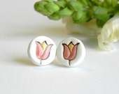 Ceramic Tulip Earrings, Spring Studs, White Studs with Red and Yellow Flower, Eco Friendly Jewelry in a Recycled Box - Ceraminic