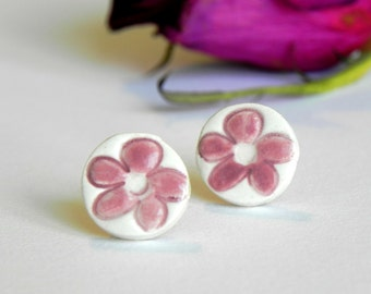 Ceramic Earrings, White Studs with Pink Flowers, Eco Friendly Jewelry in a Recycled Box