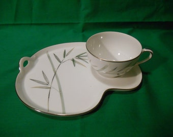 One (1), Porcelain Snack Plate and Cup, from Noritake, in the Bambina 5791 Pattern.