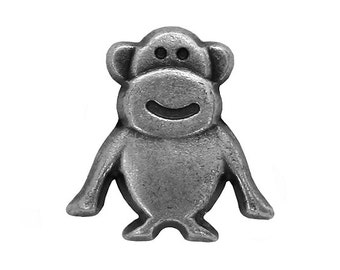 6 Tiny Monkey 1/2 inch ( 12 mm  ) Metal Buttons Antique Silver Color