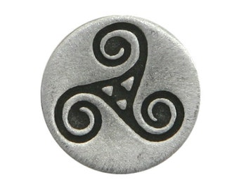 3 Small Celtic Triple Spiral Triskele 9/16 inch ( 15 mm ) Pewter Buttons