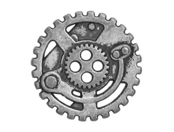 2 Steampunk Gears 7/8 inch ( 22 mm ) Metal 4 Hole Buttons Silver Color