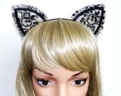 black flower lace cat ear hairband headband Alice In Wonderland Lolita Gaga