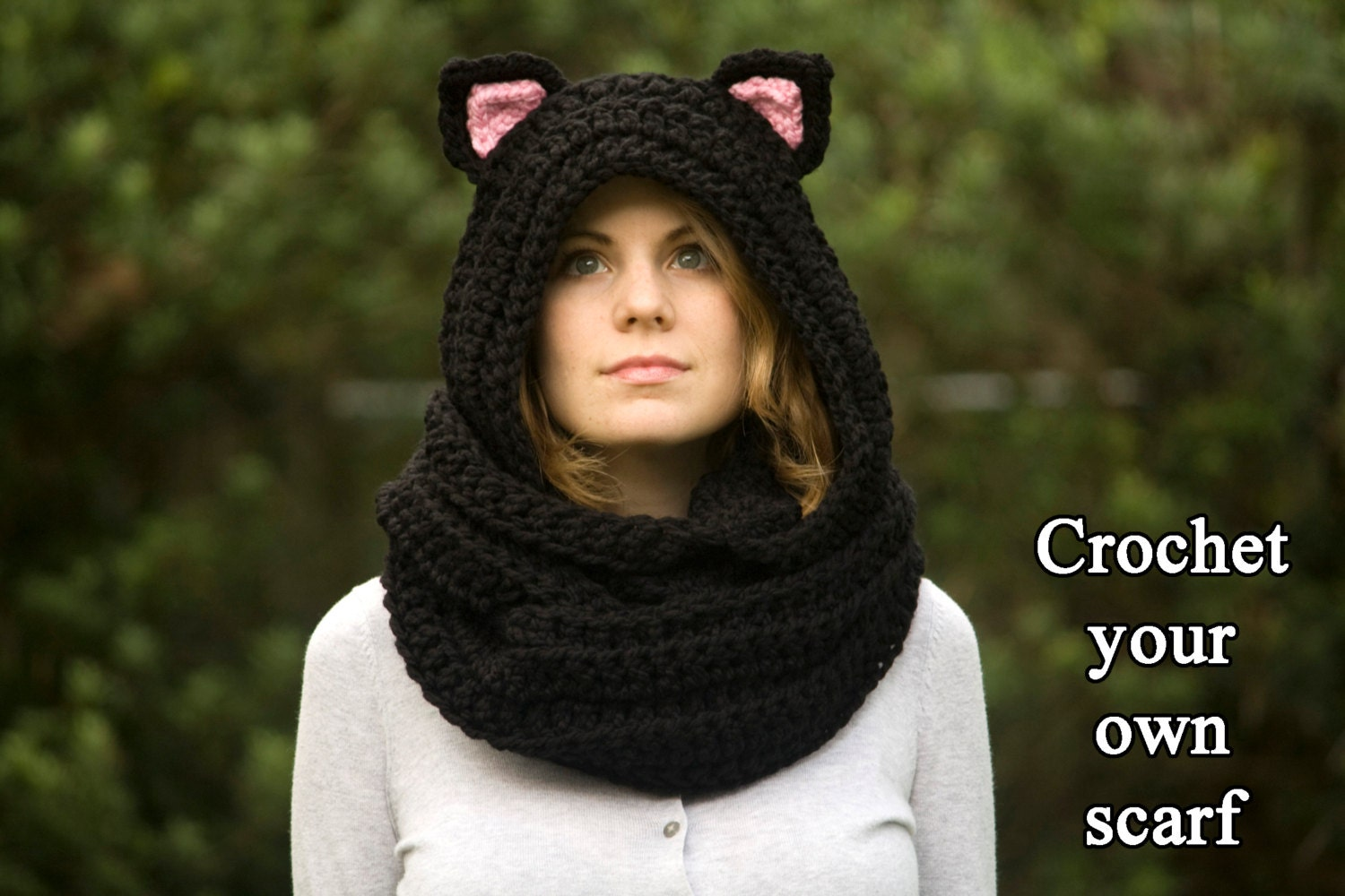Crochet Pattern Hooded Scarf With Ears : CROCHET PATTERN Cat Scarf, Scoodie, Hooded Scarf with Cat ...