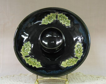 Celtic Holly on Black Dip Plate