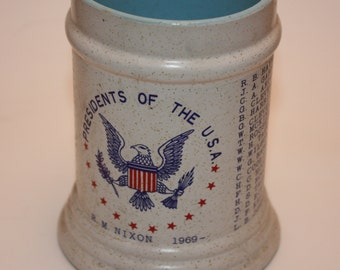 Vintage Ceramic Presidents Of The United States Mug, Ending With Richard Nixon, 1969, Cream Colored on Outside, Blue Inside, Mint Condition