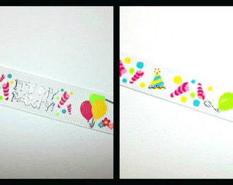 """Choice of 7/8"""" or 3/8"""" It's My Birthday Party grosgrain ribbon 5 yards silver embossed"""