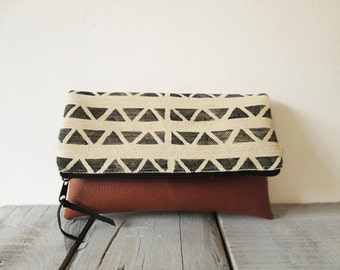 Geometric clutch purse, Canvas and leather, Geometry, Triangles
