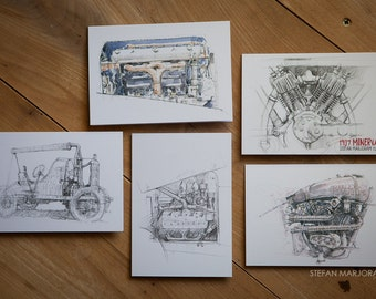 Motoring Art - Set of 5 Blank Cards - Mostly engines