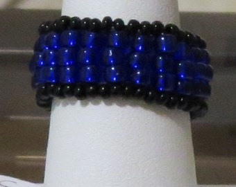 Seed Bead Ring Blue Black
