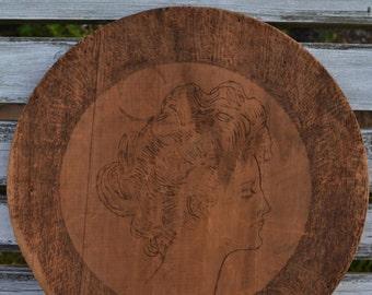 Folk art Victorian Woman Portrait Wood Burned Pyrography