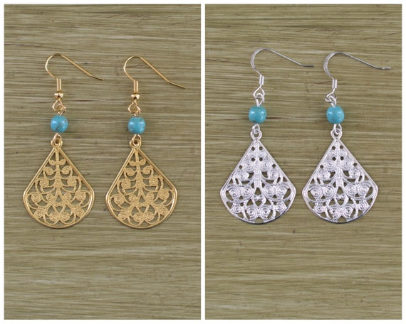 Gold or Silver Filigree Teardrop Earrings with Turquoise Bead - Bridesmaid Gift - Gold and Turquoise Earring - Silver and Turquoise Earring