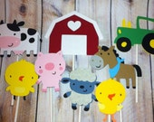Set of 12 Farm Animal Cupcake Toppers, Farm Animal Themes, Pigs, Cows, Sheep, Horse, Party Decor, Baby Shower, Birthday Parties