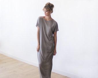 T-shirt taupe maxi summer dress,Short sleeves summer dress