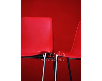 Red Chairs Photo, Fire Engine Red, Black, Silver, Modern Art, Bold Office Decor, Abstract Photography