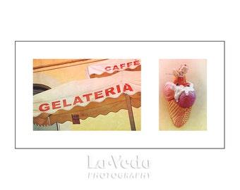 Gelato Photo Duet, Nursery Decor, Children's Room, Ice Cream Colors, Pastels, Travel Photography