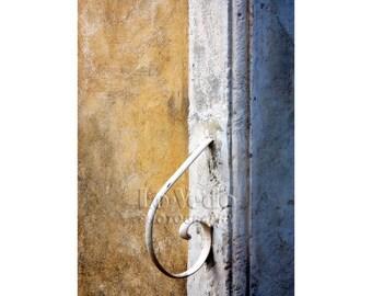 Curved Rail Photo, Doorstep, Blue, Gold, White, Shabby Chic Decor, Travel Photography, French Style