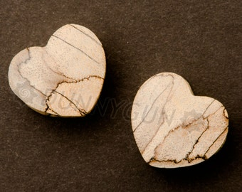 "9/16"" Pair El Corazon Spalted Tamarind Heart Shaped Free Shipping Organic Body Piercing Jewelry Earrings Gauge"
