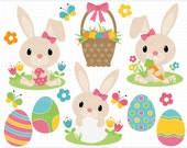 Clipart - Easter Bunny (Pink) - Digital Clip Art (Instant Download)