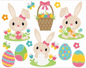 Clipart - Easter Bunny (Pink) - Digital Clip Art (Instant Download)