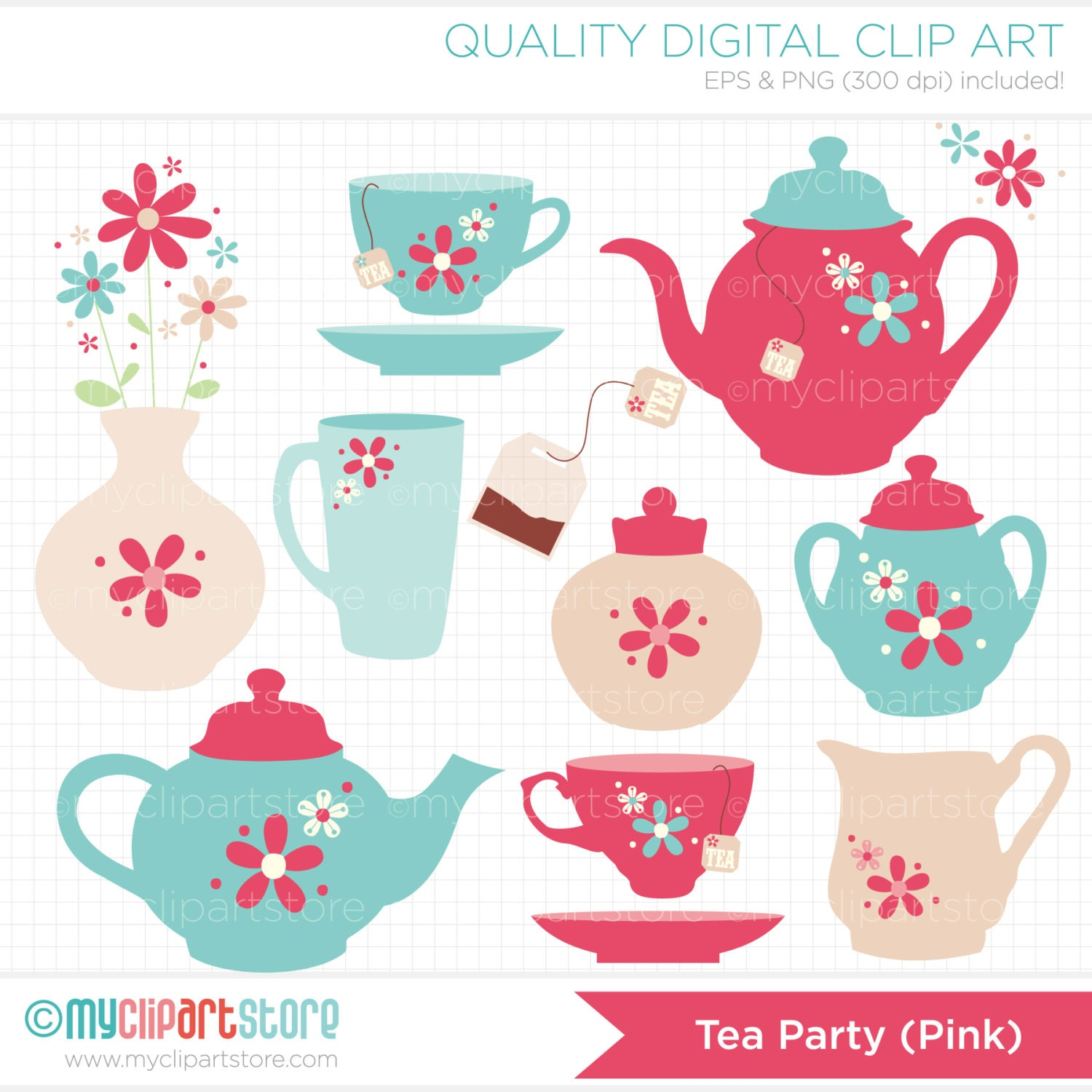 This is a picture of Fan Tea Party Clip Art