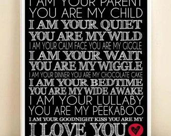 Nursery Art I Am Your Parent You Are My Child Subway Art Print: 8x10 Typography Quote Poster in Black & White - Parent Child Nursery Gift