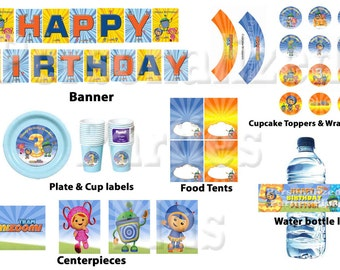 Team Umizoomi birthday party kit: banner, cupcake toppers & wrappers, centerpieces, labels plates, cups, water bottle
