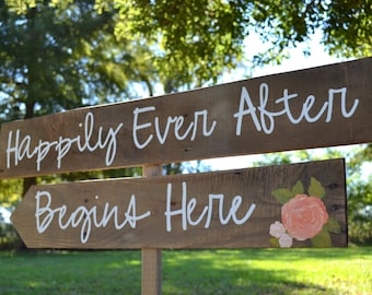 Happily Ever After Begins Here, Rustic Wedding Signs, Wooden Wedding Signs, Vintage Wedding Signs, Shabby Chic Wedding Signs