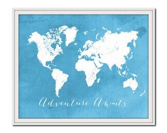 Adventure Awaits Poster, Nursery Travel Print, World Map Print, Light Blue and White, Digital Typographic Print
