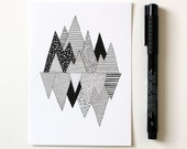 Mountain print / Lost in Mountains / A6 print / Mini art print / Graphic art / Contemporary art / Postcard / Black and white
