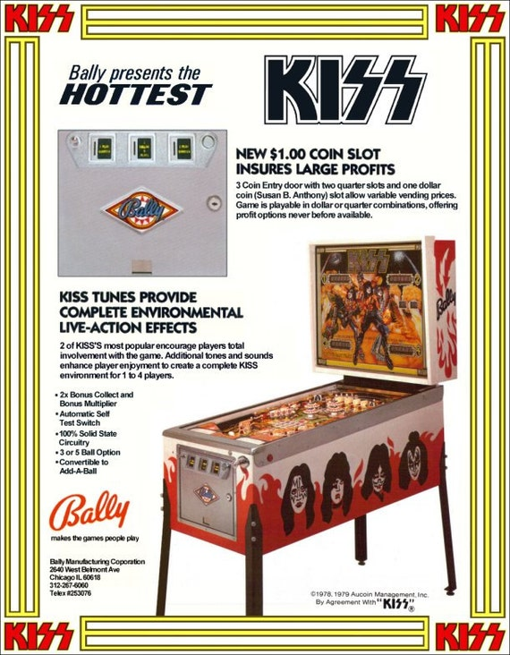 KISS Collectible Memorabilia - KISS Bally Pinball Dealers Version Stand-Up Display Gene Simmons Paul Stanley Ace Frehley Peter Criss Alive!