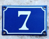 French House Number 7 Blue and White Enamel Vintage