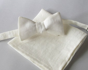 Ivory / off white linen bowtie combination