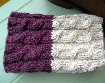 Hand knitted 2 ways to wear Women Boot cuffs Cable knit Ivory tweed Eggplant tweed