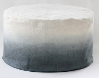 Charcoal Dip Dye Bean Bag / Ombre Bean Bag / Foot stool cover - Hand dyed