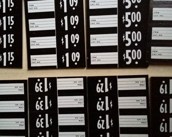 One Dozen Antique Price Tags