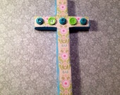 Turquoise Blue Button and Lime Green Wooden Cross
