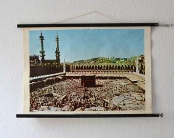 Vintage school pull down chart map Mekka Saudi Arabia geography West German print