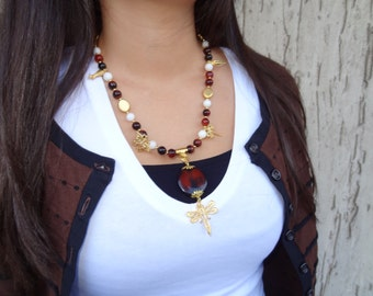 Brown &White  Agate Necklace, Dragonfly Necklace Gold Jewelry OOAK Jewelry